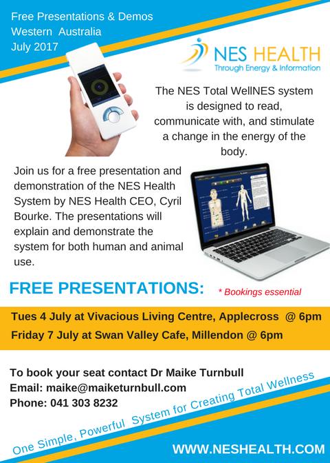 NES Health Presentations Flyer WA July 2017